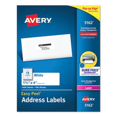 "Avery 5162 Easy Peel Address Labels, 1.33"" x 4"", White - 1400 / Case"