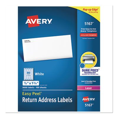 "Avery 5167 Easy Peel Address Labels, 0.5"" x 1.75"", White - 8000 / Case"