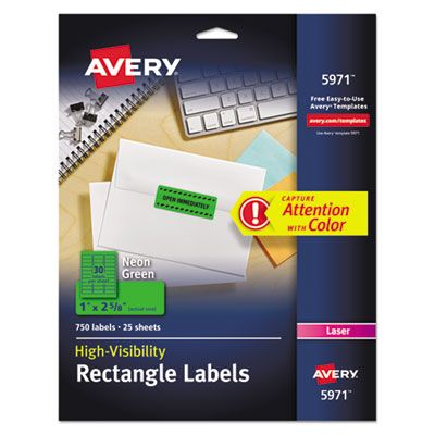 "Avery 5971 High-Visibility Permanent Laser ID Labels, 1"" x 2-5/8"", Neon Green - 750 / Case"