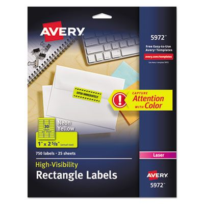 "Avery 5972 High-Visibility Rectangle ID Labels, 1"" x 2-5/8"", Neon Yellow - 750 / Case"