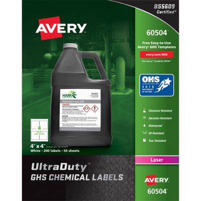 "Avery 60504 UltraDuty GHS Chemical Labels, Laser, 4"" x 4"", White - 200 / Case"