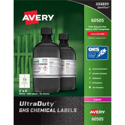 "Avery 60505 GHS Chemical Labels, Laser, 2"" x 4"", White - 500 / Case"