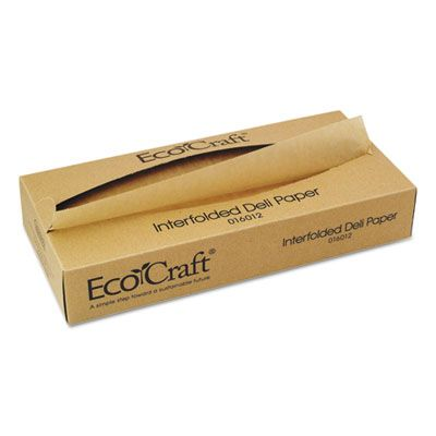 "Bagcraft 016012 Ecocraft Soy Wax Deli Sheets, Interfolded, 12"" x 10-3/4"", Natural, 6000 / Case"