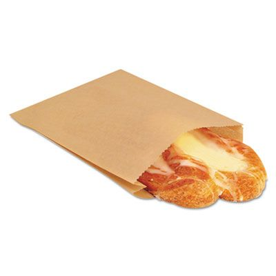 """Bagcraft 300100 NK25 Ecocraft Sandwich / Pastry Bags, 6-1/2"""" x 1"""" x 8"""", Natural - 2000 / Case"""