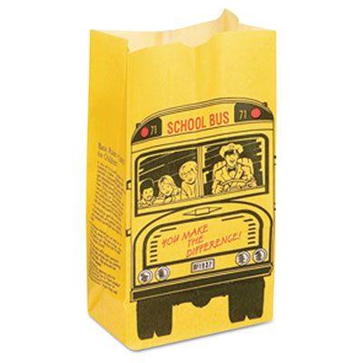 Bagcraft 300202 SOS 6 Lb School Bus Bakery Bags, Dubl Wax Paper - 500 / Case