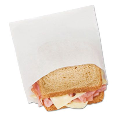 """Bagcraft 300401 DX18 Sandwich / Pastry Bags, Dry Wax, 6"""" x 3/4"""" x 6-1/2"""", White - 8000 / Case"""