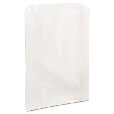 "Bagcraft 300422 PB25 Sandwich Bags, Grease Resistant Paper, 6-1/2"" x 1"" x 8"", White - 2000 / Case"