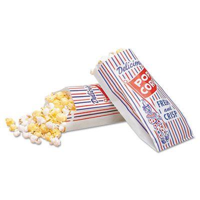 "Bagcraft 300471 Popcorn Bags, 4"" x 1-1/2"" x 8"", Blue / Red / White - 1000 / Case"