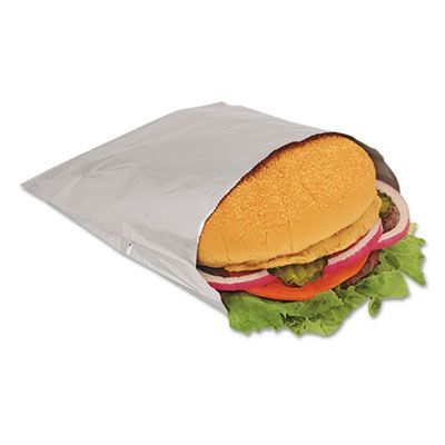 "Bagcraft 300533 Foil / Paper Sandwich Bags, 6"" x 3/4"" x 6-1/2"", Silver - 1000 / Case"