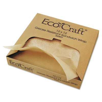 "Bagcraft 300897 Ecocraft Food Wrap / Liner Sheets, Grease-Resistant Paper, 12"" x 12"" - 5000 / Case"