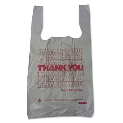 "Barnes 10519THYOU Thank You Plastic Shopping Bags, 10"" x 5"" x 19"", White - 2000 / Case"