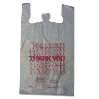 "Barnes 18830THYOU Thank You Plastic Shopping Bags, 18"" x 8"" x 30"", White - 500 / Case"