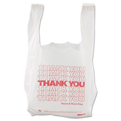 "Barnes 8416THYOU Thank You Plastic Shopping Bags, 8"" x 4"" x 16"", White - 2000 / Case"