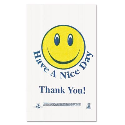 "Barnes T16SMILEY Smiley Face Plastic Shopping Bags, 21"" x 11-1/2"" x 6-1/2"", White - 900 / Case"