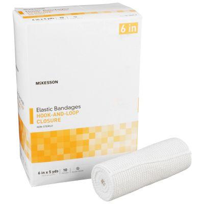 "McKesson 16-1033-6 Elastic Bandage, Hook & Loop Closure, 6"" x 5 Yds, NonSterile - 10 / Case"