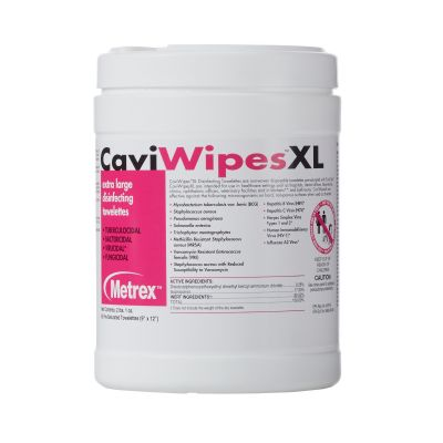 """Metrex Research 13-1150 CaviWipes XL Surface Disinfectant Wipes, Premoistened, Alcohol, 10"""" x 12"""" - 792 / Case"""