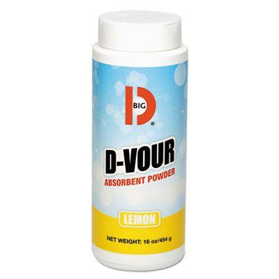 Big D 166 D'Vour Bodily Fluids Absorbent Powder, Lemon Scent, 16 oz Canister - 6 / Case