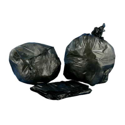 "Aluf Plastics A-T2423H 10 Gallon Trash Can Liners / Garbage Bags, 23"" x 15"" x 9"", 0.8 Mil, Black - 500 / Case"
