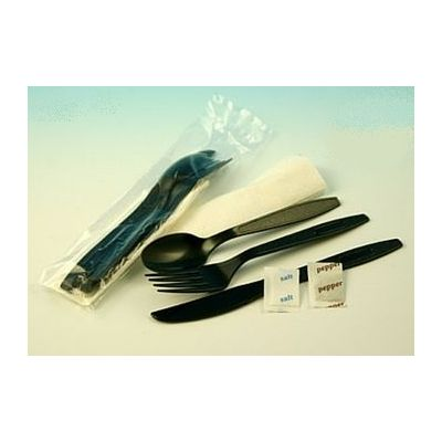 Plastic Cutlery Kits with Black Fork, Knife, & Spoon, White Paper Napkin, and Salt & Pepper Packets - 250 / Case