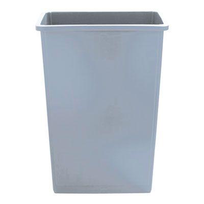 """Boardwalk 23GLSJGRA Slim Jim 23 Gallon Waste Container, Plastic, 20"""" x 11"""" x 30"""", Gray - 1 / Case"""