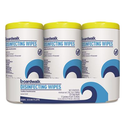 "Boardwalk 455W753 Disinfecting Wipes, 8"" x 7"", Lemon Scent, 75 / Canister - 12 / Case"