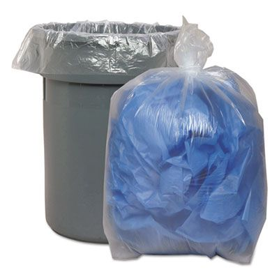 "Boardwalk 533 60 Gallon Garbage Bags / Trash Can Liners, 1.1 Mil, 38"" x 58"", Clear - 100 / Case"