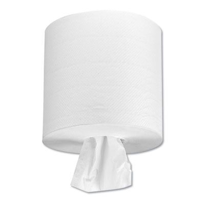 """Boardwalk 6401 Center Pull Paper Hand Towels, 2 Ply, 550 Sheets / Roll, 7-5/8"""" x 10"""", 3"""" Core, White - 6 / Case"""
