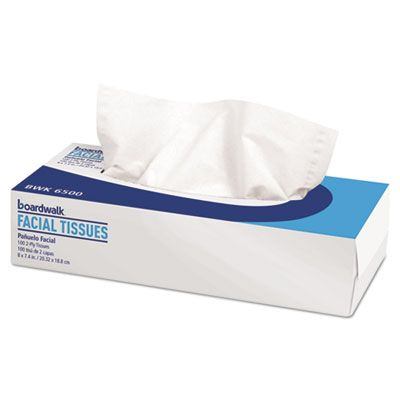 "Boardwalk 6500B Office Packs Facial Tissue, 2 Ply, 8"" x 7.5"", 100 Sheets / Flat Box, White - 30 / Case"