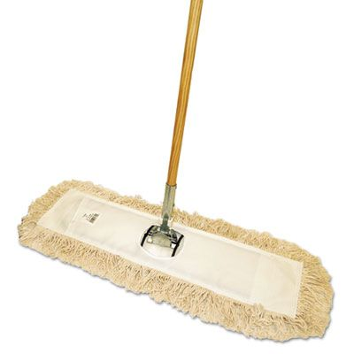 """Boardwalk M245C Cut-End Dust Mop Kit, 24"""" x 5"""" Head, 60"""" Wood Handle - 1 / Case"""