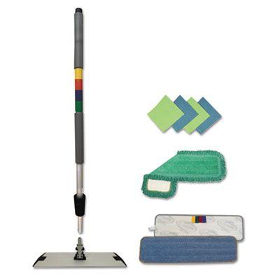 """Boardwalk MFKIT Microfiber Mopping Kit, 18"""" Mop Head & 35-60"""" Handle - 1 / Case"""