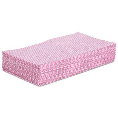 "Boardwalk N8140 Foodservice Wiper Towels, 12"" x 21"", Pink / White - 200 / Case"