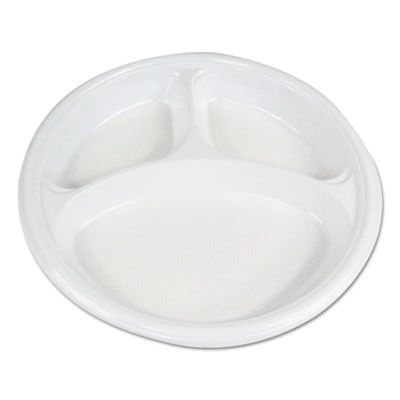 "Boardwalk PLTHIPS10WH3 10"" Plastic Plates, 3 Compartment, Hi-Impact, White - 500 / Case"