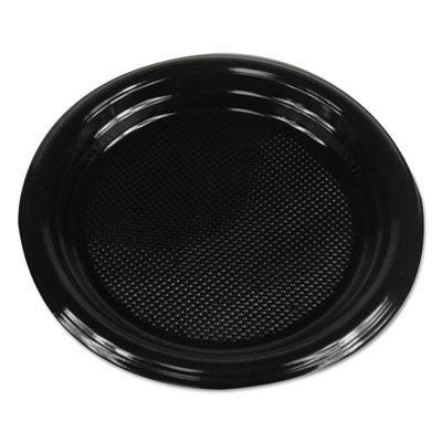 "Boardwalk PLTHIPS6BL 6"" Plastic Plates, Hi-Impact, Black - 1000 / Case"