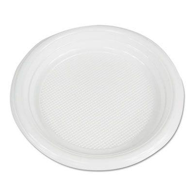 "Boardwalk PLTHIPS6WH 6"" Plastic Plates, Hi-Impact, White - 1000 / Case"