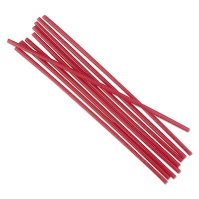 "Boardwalk STRU525R10 5.25"" Plastic Stir Straws, Red - 10000 / Case"