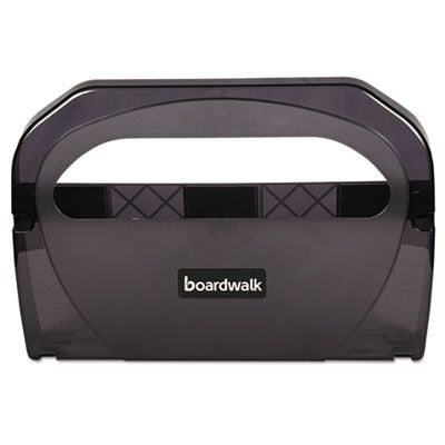 Boardwalk TS510SBBW Dispenser for Toilet Seat Covers, Plastic, Smoke Black - 1 / Case