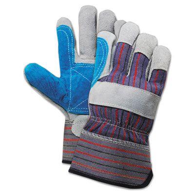 Boardwalk 34 Cow Split Leather Double Palm Canvas Gloves, Large, Gray / Blue - 1 Dozen