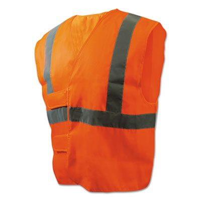 Boardwalk 35 Class 2 Safety Vests, Standard Size, Orange / Silver - 1 / Case