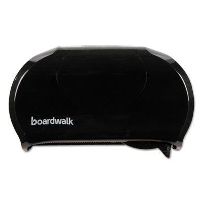 Boardwalk 1502 Standard Twin Toilet Paper Roll Dispenser, Black - 1 / Case