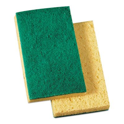 "Boardwalk 174 Scrubbing Sponges, Medium Duty, 3-3/5"" x 6-1/10"", Yellow / Green - 20 / Case"