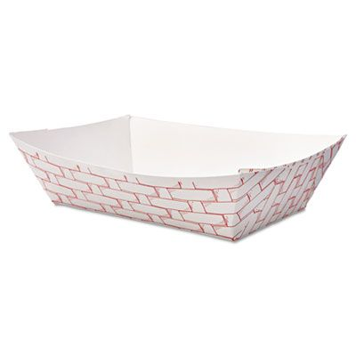 Boardwalk 30LAG200 2 LB Paper Food Baskets / Trays, Red / White - 1000 / Case