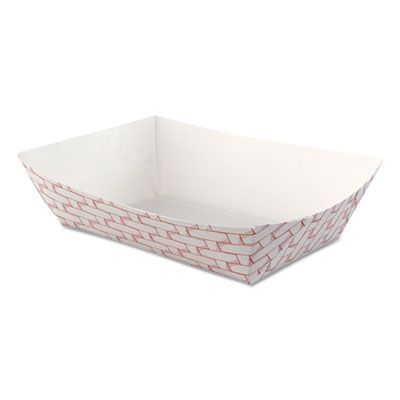 Boardwalk 30LAG250 2.5 LB Paper Food Baskets / Trays, Red / White - 500 / Case