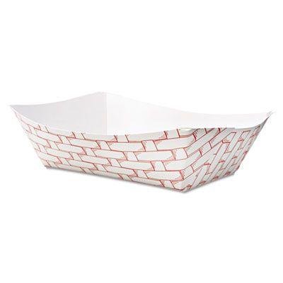 Boardwalk 30LAG300 3 Lb Paper Food Baskets / Trays, Red / White - 500 / Case