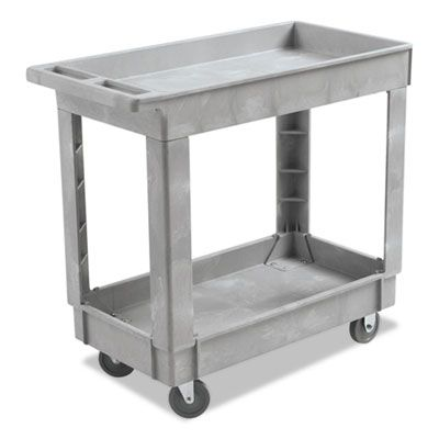 "Boardwalk 3416UCGRA Utility Cart on Wheels, 2 Shelves, 16"" x 34"", Resin, Gray - 1 / Case"