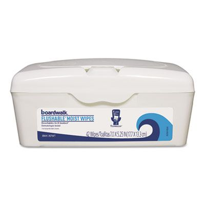 "Boardwalk 457WT Flushable Moist Wipes, Fresh Scent, 7"" x 5-1/4"" - 504 / Case"