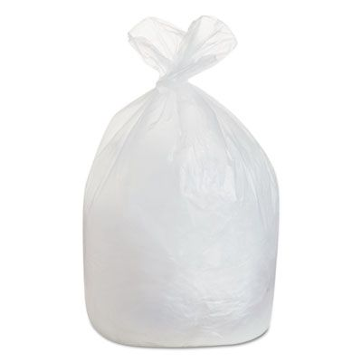 """Boardwalk 385822 60 Gallon Trash Can Liners / Garbage Bags, 38"""" x 58"""", 19 Mic EQ, Natural - 150 / Case"""