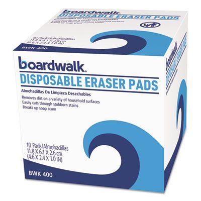 """Boardwalk 600 Eraser Sponge Cleaning Pads, Foam, 2.4"""" x 4.6"""" x 1"""", White - 160 / Case"""