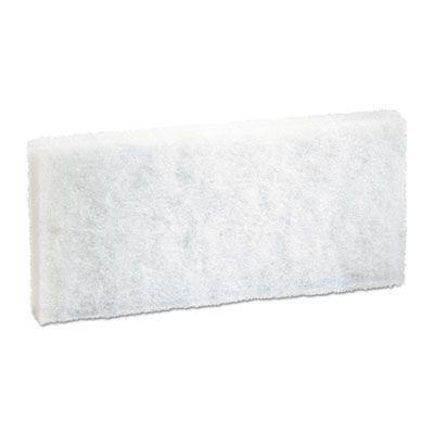 "Boardwalk 401 Utility Cleaning Pad, Light Duty, 4-5/8"" x 10"", White - 20 / Case"