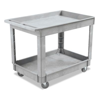 "Boardwalk 4024UCGRA Utility Cart, Two-Shelf, Plastic Resin, 24"" x 40"", Gray - 1 / Case"