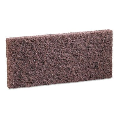 "Boardwalk 403 Scouring Pads, Heavy Duty, 4-5/8"" x 10"", Brown - 20 / Case"
